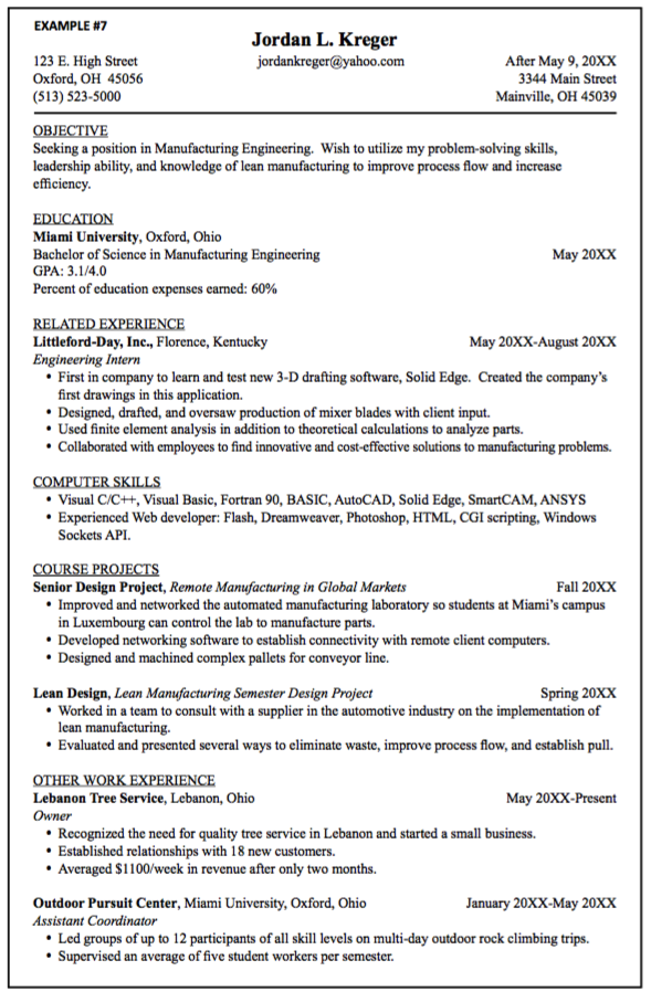 sample manufacturing engineer resume industrial engineer resume