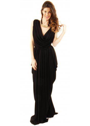 Join Grecian Dress Black Grecian Drape Dress Black Evening Dress