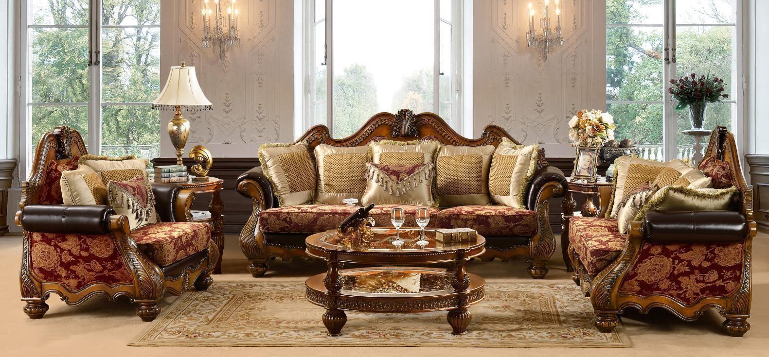 Vendome Victorian Luxury 6pc Living Room Sofa Set in Baroque Gold Patina