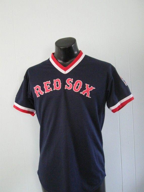 Vintage Red Sox Jersey VNeck Ringer Navy Blue LARGE.  24.00 619af68c797c