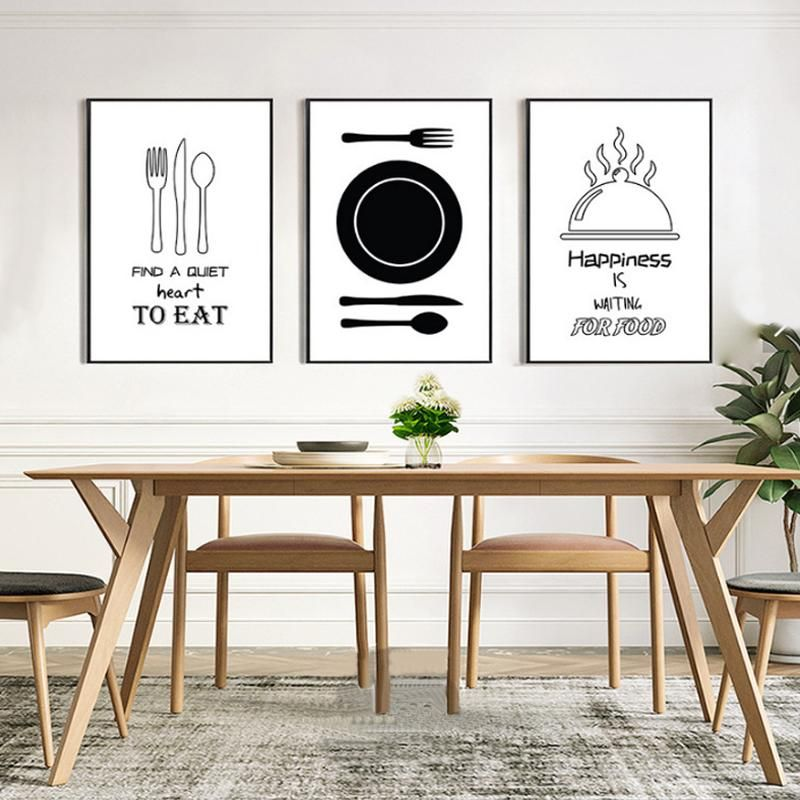 Modern Black And White Art Posters For Dining Room Canvas Art Painting Kitchen Canvas Canvas Painting Diy Food Wall Art