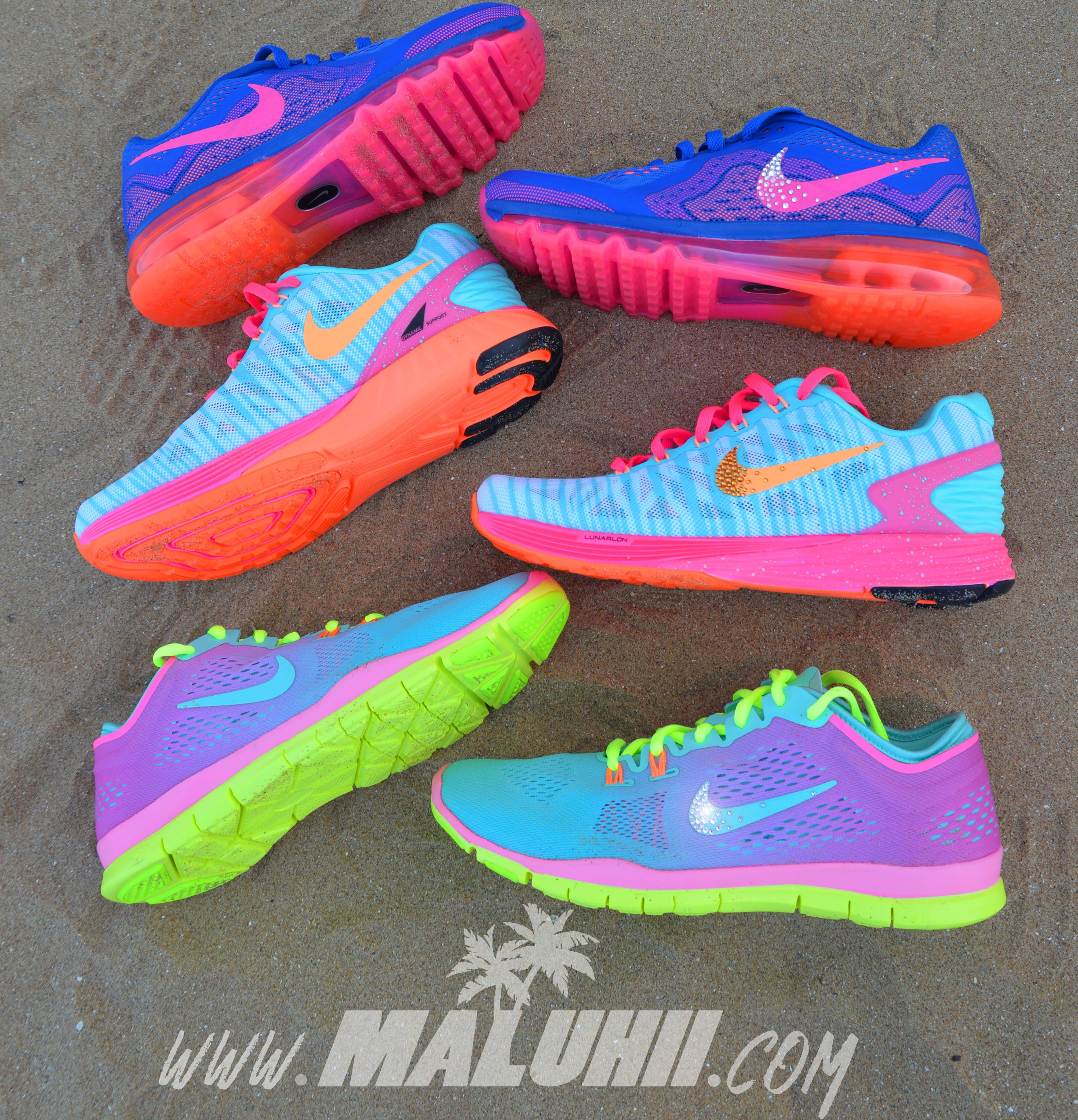 Ladies Custom Nike Free Run 5.0 , Air Max , Colourful , Bright , Neon ,