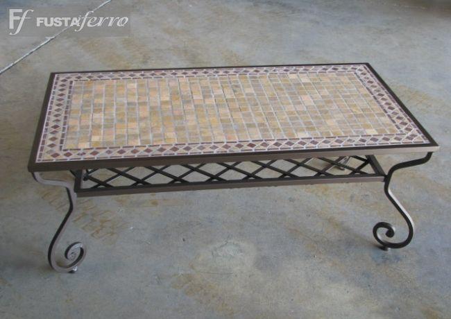 Mesa De Centro De Forja Y Mosaico Decoracion Jardin