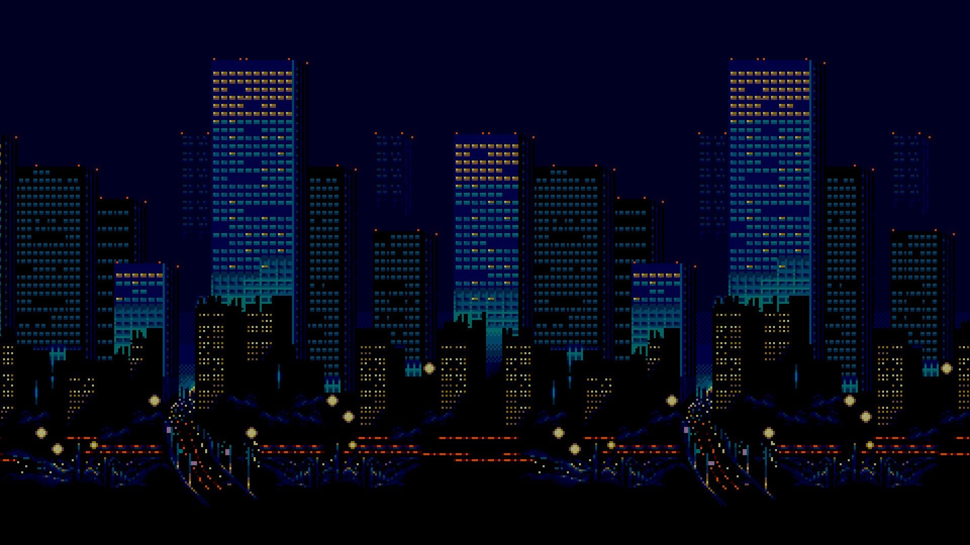 pixel art, 16 bit, Sega, Streets of Rage, City Wallpapers