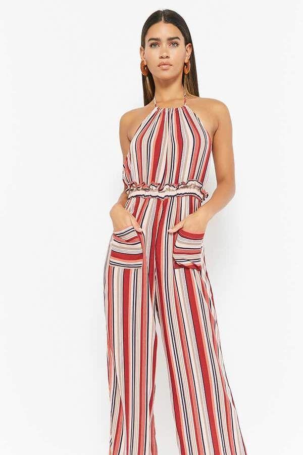 d6c5611f2d2 Forever 21 Striped Halter Jumpsuit