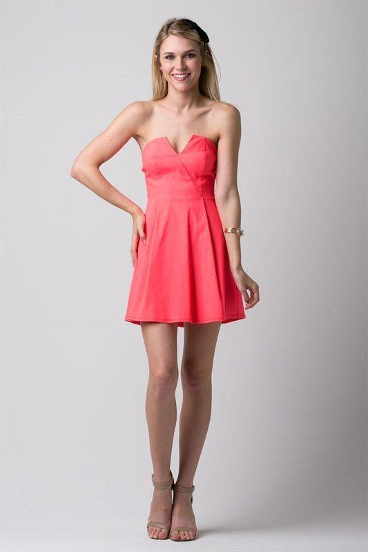 Neon Coral Strapless Dress