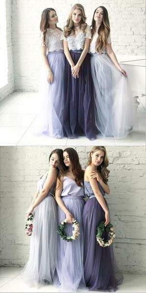 Cheap Two Piece Round Neck Long Light Blue Grey Silver Purple Lilac Tulle With Top Lace Bridesmaid Dresses, WG270 Cheap Two Piece Round Neck Long Light Blue Grey Silver Purple Lilac Tulle With Top Lace Bridesmaid Dresses, WG270 #lacebridesmaids