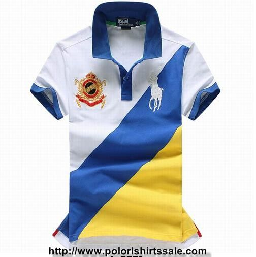 Mens Polo Ralph Lauren Slim Fit Big Pony Striped Shirts White Blue Yellow  Online UK 2ca4311c52d92