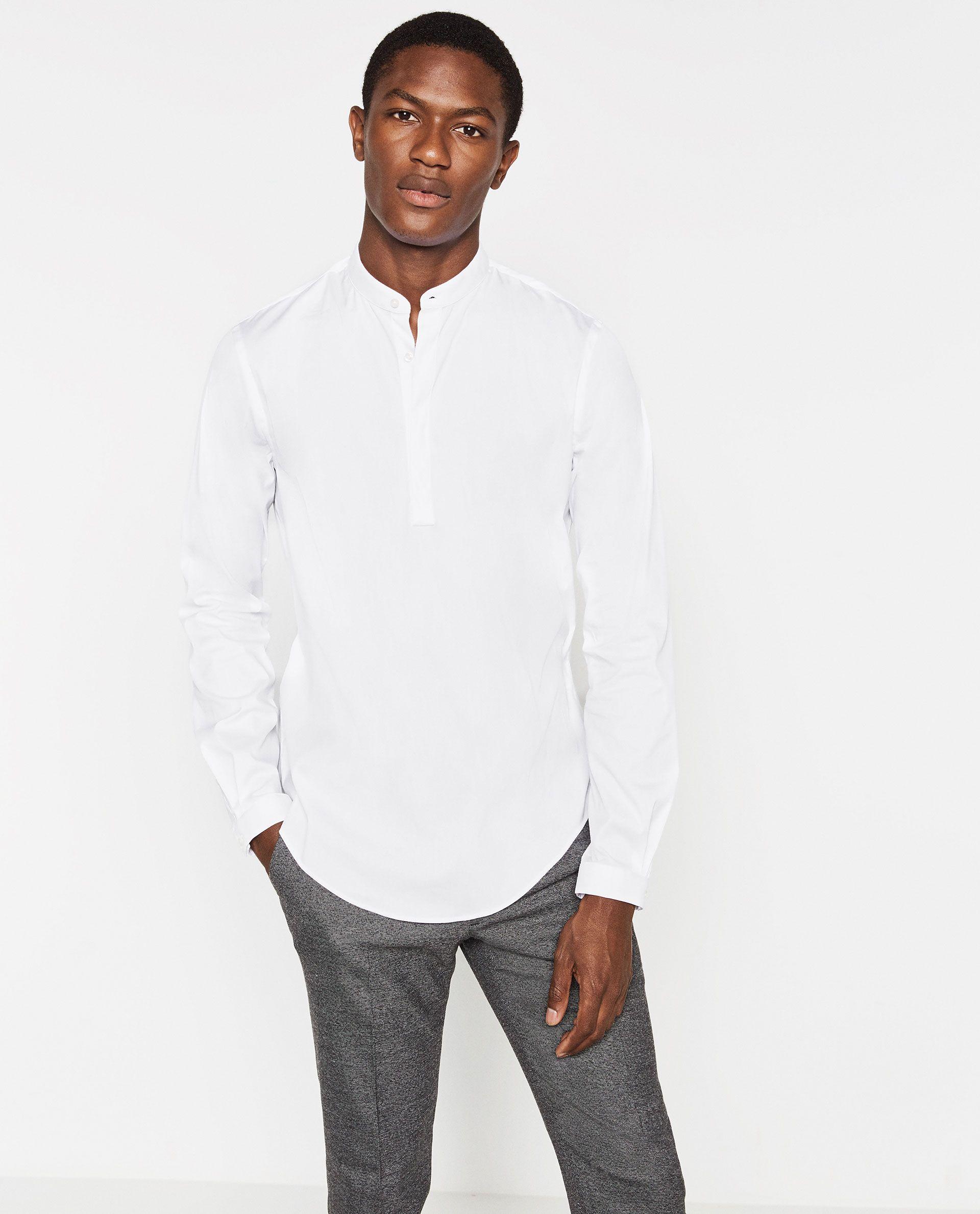 Image 2 Of Mandarin Collar Shirt From Zara Wear Mandarin Collar