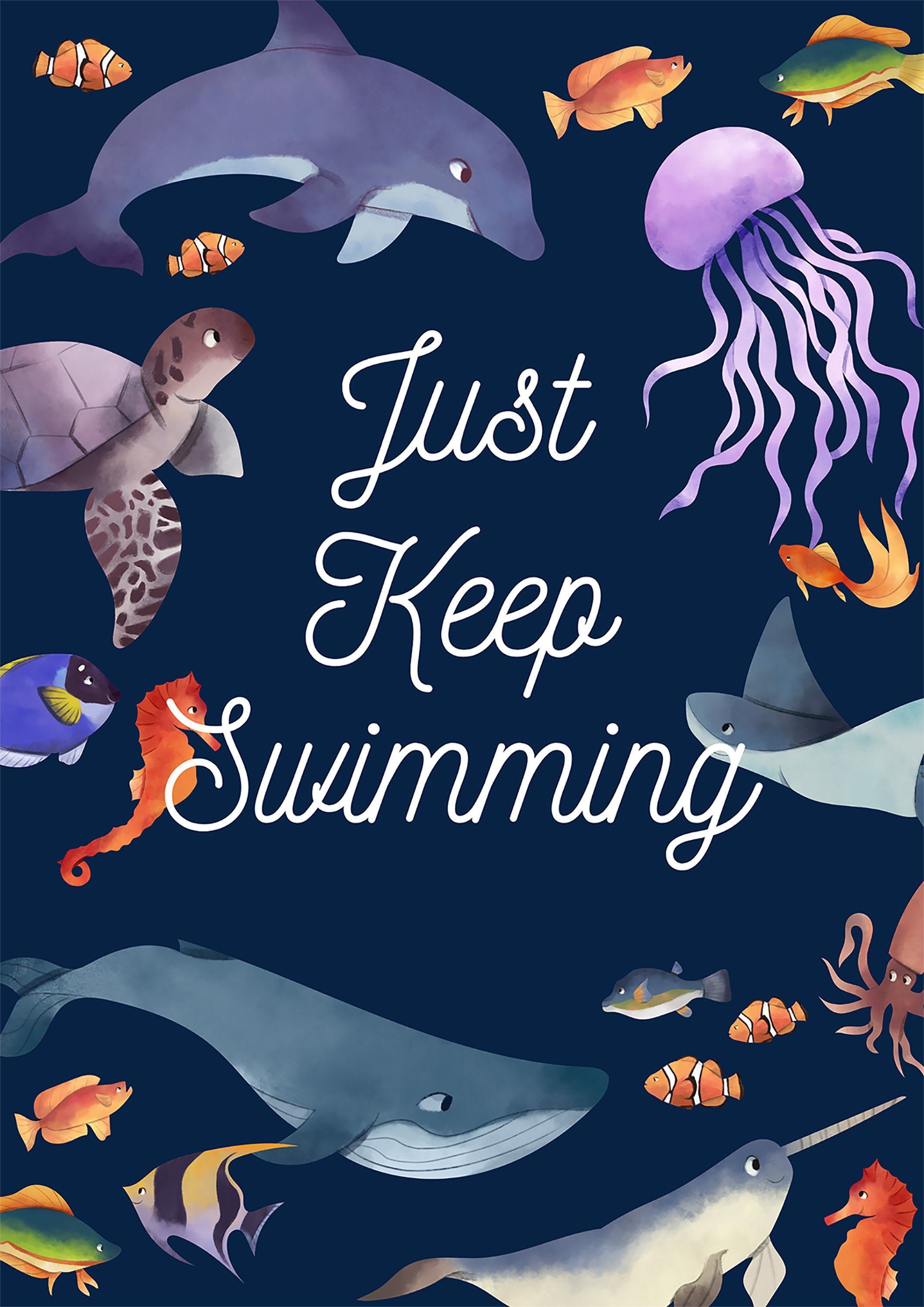 Just Keep Swimming Motivational Quote| DIGITAL DOWNLOAD Files | Downloadable Prints | Printable Wall Art | Digital Prints Download