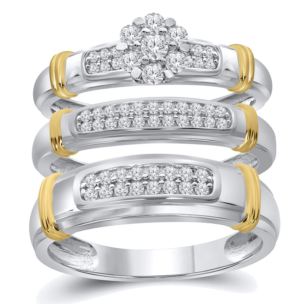 1 2 Cttw Simulated Diamond Yellow Gold Plated 925 Sterling Silver Trio Wedding Ring Set Rings For Hi Wedding Ring Trio Sets Wedding Ring Sets Bridal Ring Sets