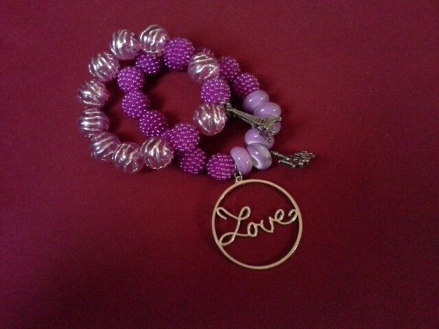 Pink love bracelet set Handmade by letitia