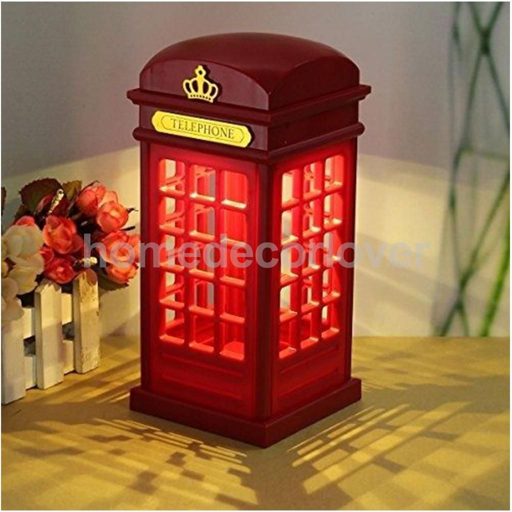 Red London Telephone Booth Night Light Bedside Led Table Lamp Usb Battery