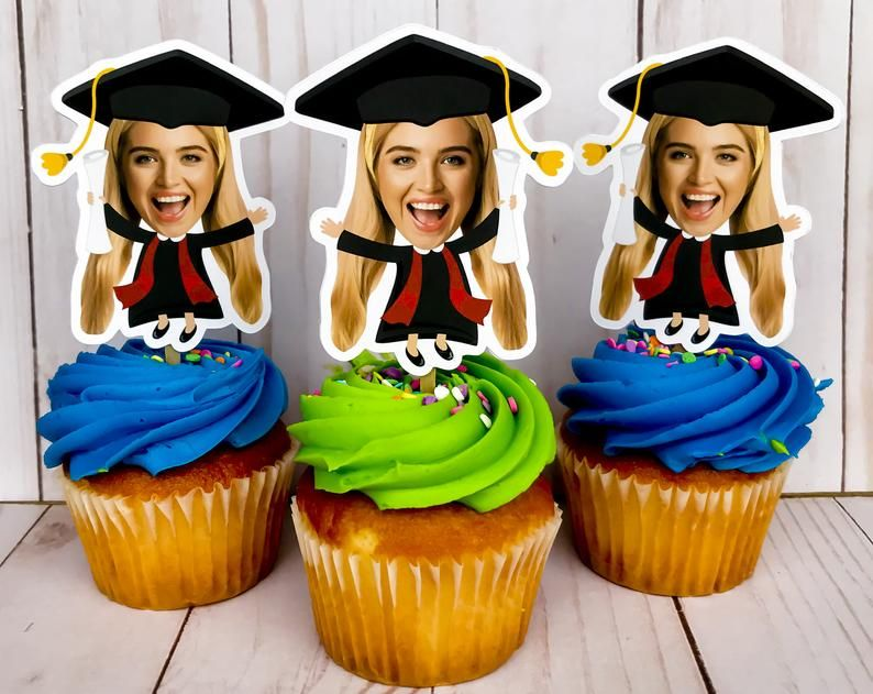 Graduation Photo Cupcake Toppers Graduation Party Face | Etsy