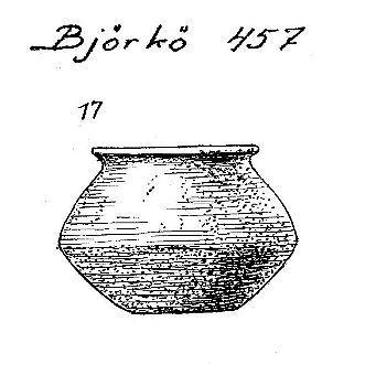 Birka Grave BJ 457 #SPT  Ceramic pot.