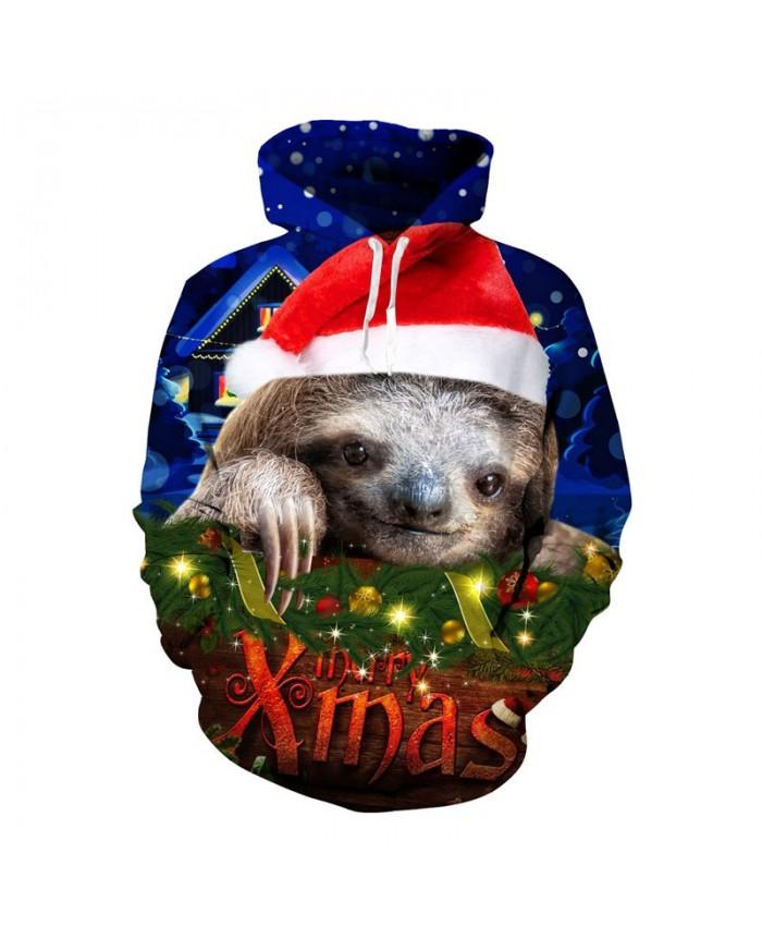 2020 的 Christmas Sloth Hoodies 3d Print Hoody Sweatshirt