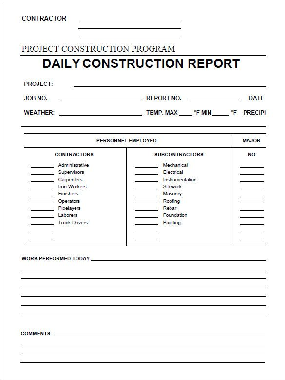 Daily Construction Report Template 25 Free Word PDF