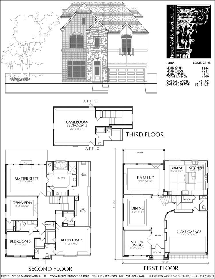 Buy Townhouse Plans Online Cool Townhome Designs Brownstone Homes Preston Wood Associates Square House Plans Two Storey House Plans House Plans