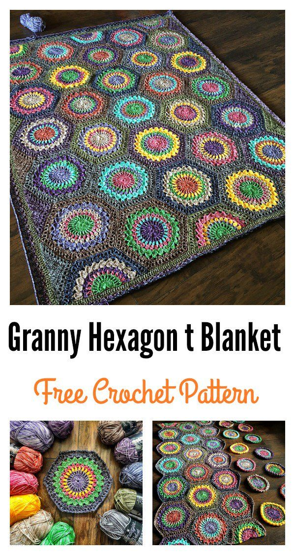 Free Granny Hexagon Burst Crochet Blanket Pattern | Manta, Ganchillo ...