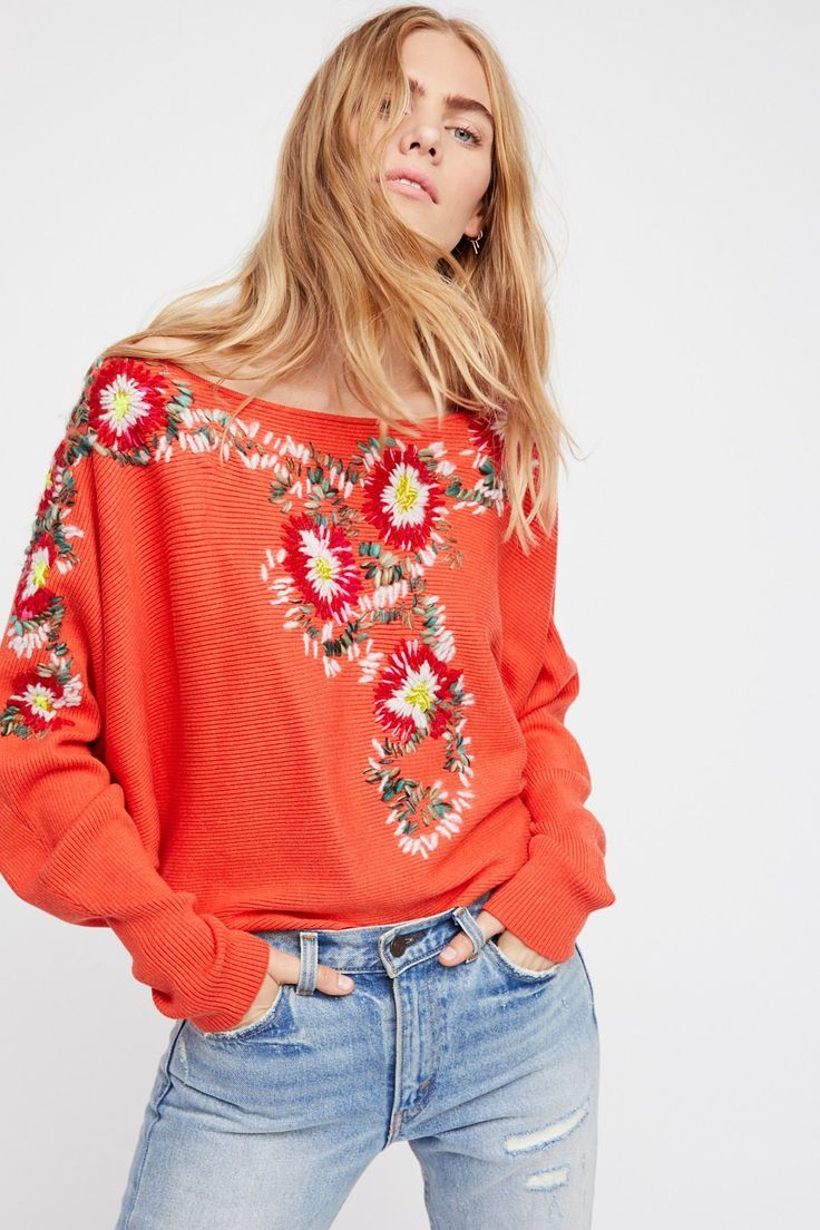 floral embroidery long sleeve shirt.