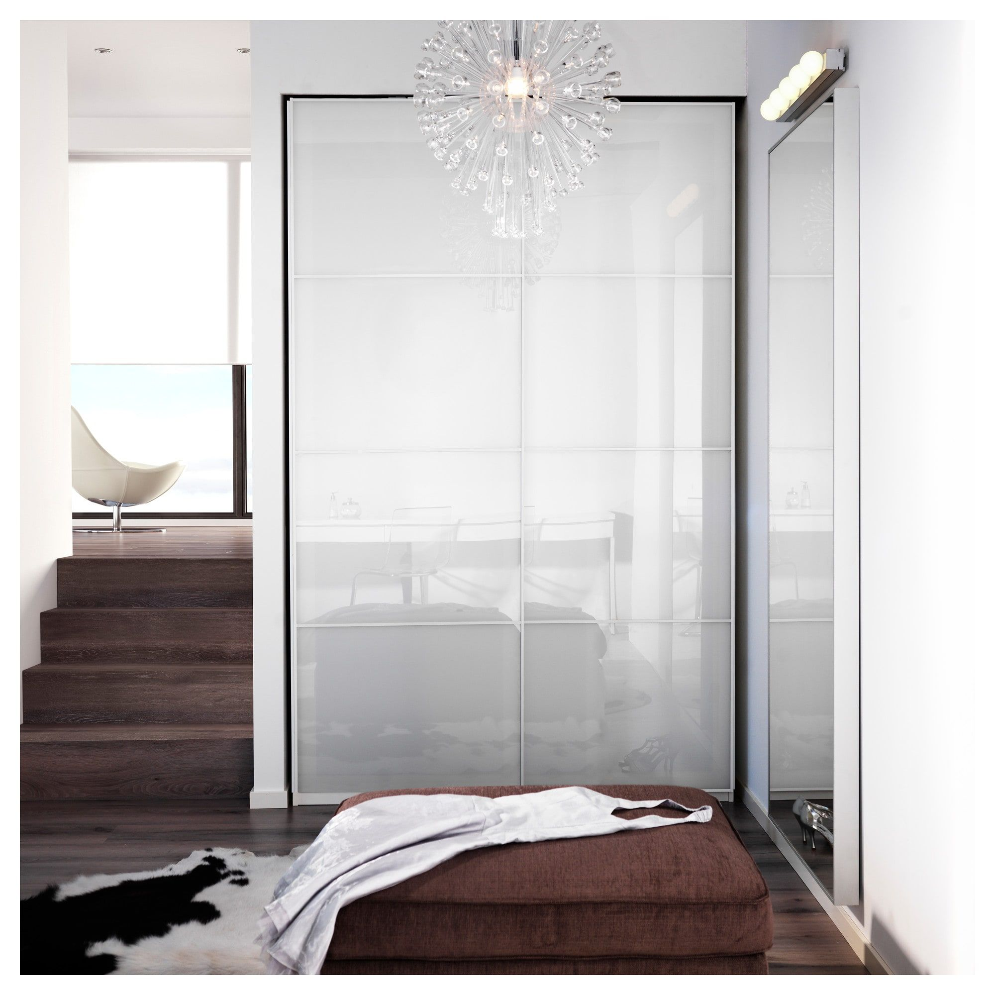 FÄRVIK Pair of sliding doors, white glass, 59x92 7/8