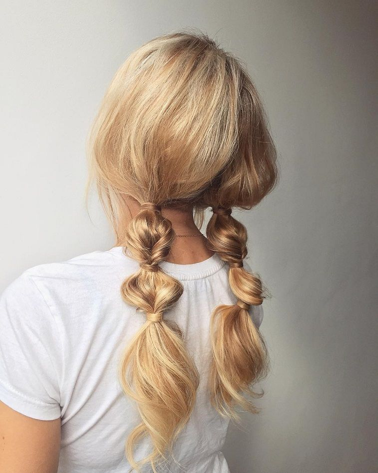 Bubble Braided Pigtails : hairstyle inspiration - braid hairstyle , braided ponytails, braids #hairstyle #braids #hair #weddinghairstyle #Hairstyle #Braid #BraidIdeas #BraidInspo #BraidedHair #Braidstyles