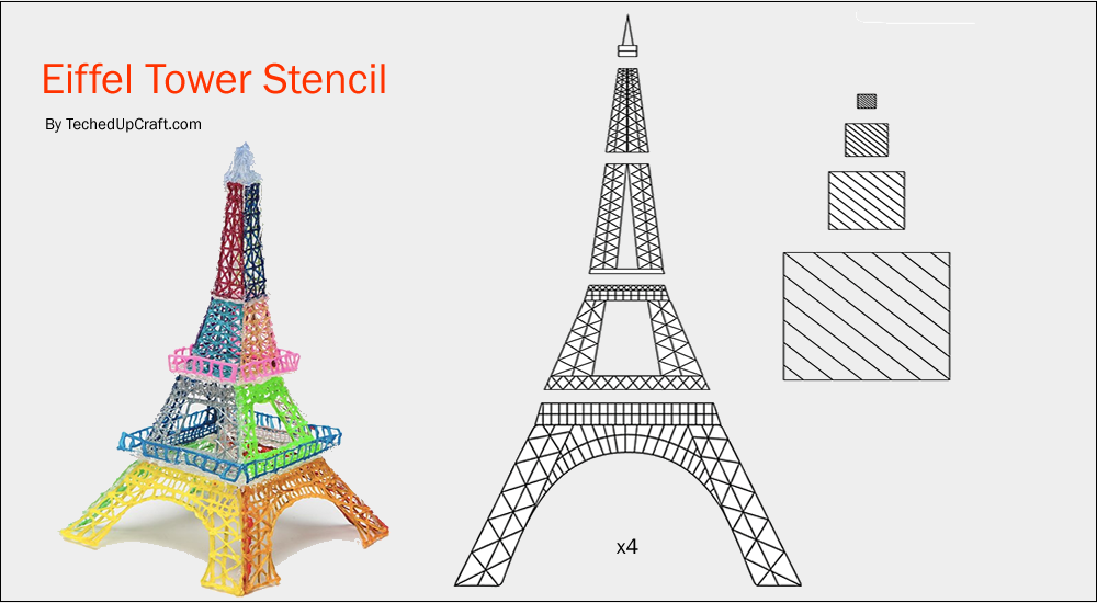 Eiffel tower 3d pen stencils creatief 3d pen for Eiffel tower model template