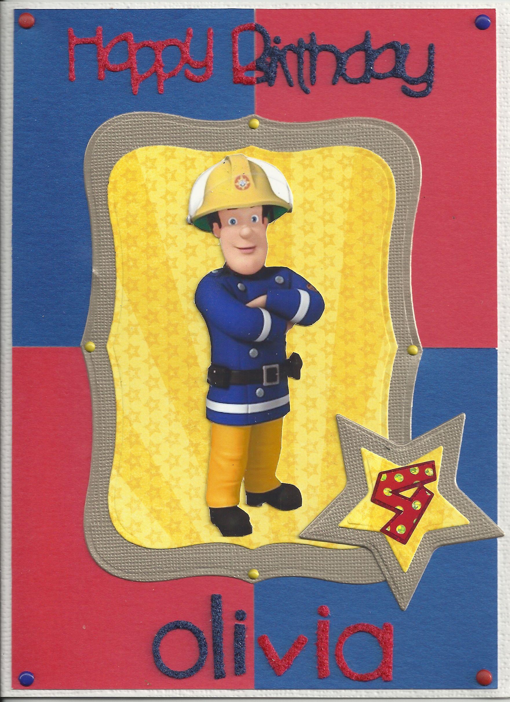 Fireman Sam Birthday Card Fire Man Birthday Party Kids Birthday Fireman Birthday