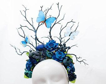 Blueberry and butterfly large fairy flower crown festival forest headdress