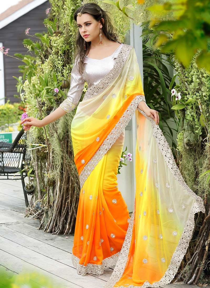 e0dc48077aa187 $59 Cbazaar #Multicolored #CordWork #Enhanced #Georgette #Saree   my ...