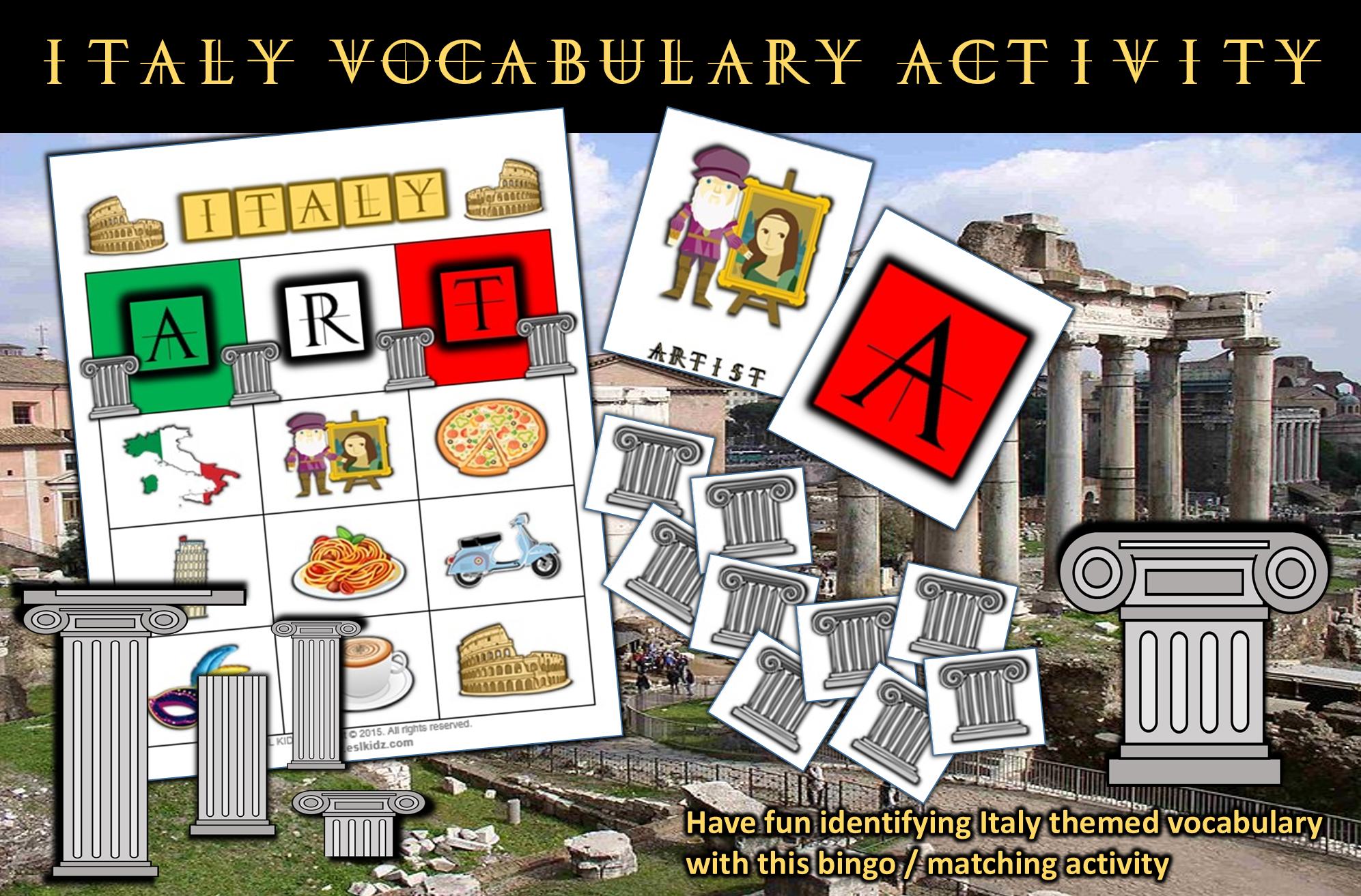 Italy Themed Vocabulary