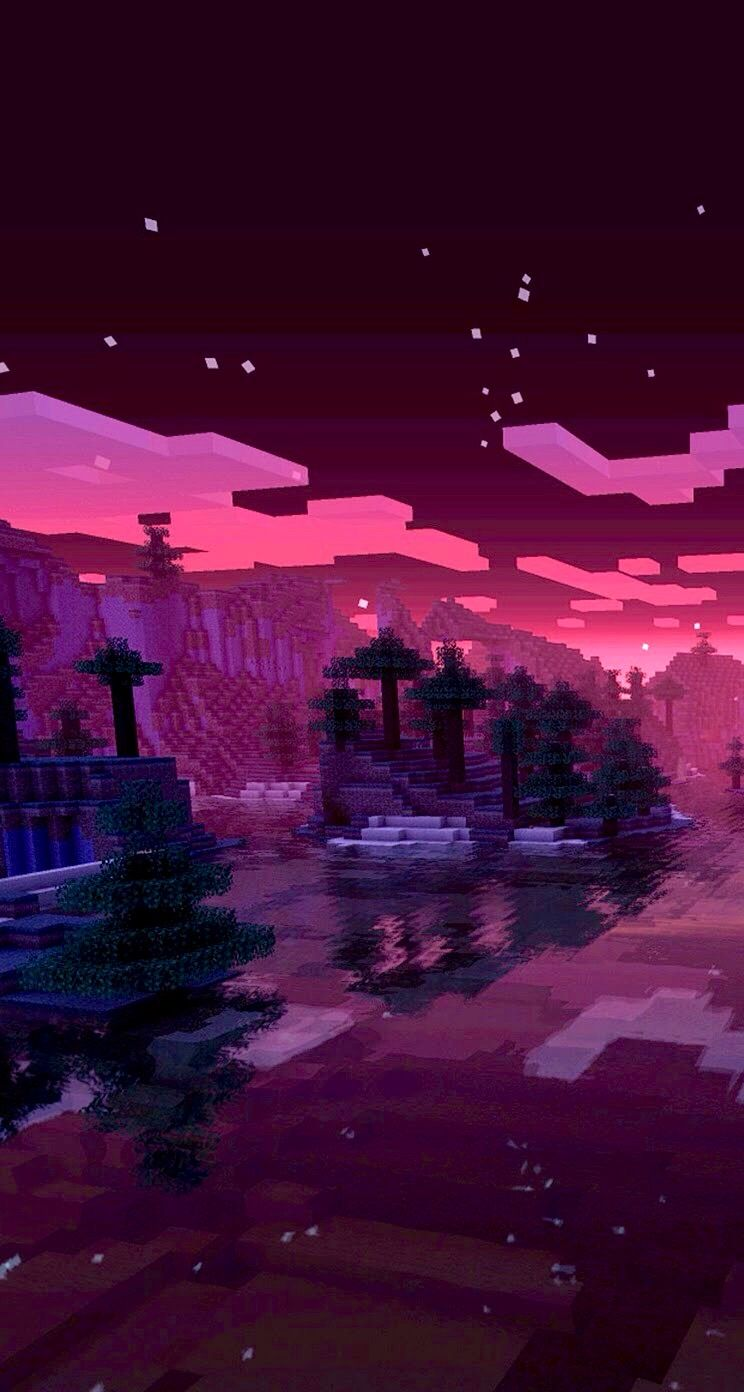Minecraft Sunset Wallpaper Gaming Minecraft Wallpaper