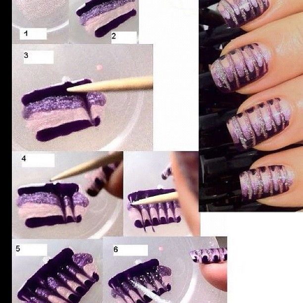 first do one coat of lightest purple shade (do not let dry)2.apply 4 thick lines of all shades, first start with dark, then medium, then lightest and then again dark (again: do not let dry) 3. + 4. now start dragging with a toothpick (from left to right on left hand, from right to left on right hand) 5. ready design, this is how it should look like (let it dry) 6. now when you drag, you will see where the lines are your bare nail, and that's the point where we refill those gaps with a silve