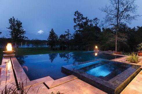 Downunda perimeter overflow pool raised spa fire bowls for Infinity pool design