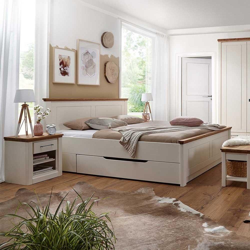 180x200 Landhaus Bett & Nachttische - Meicus (3-teilig ...