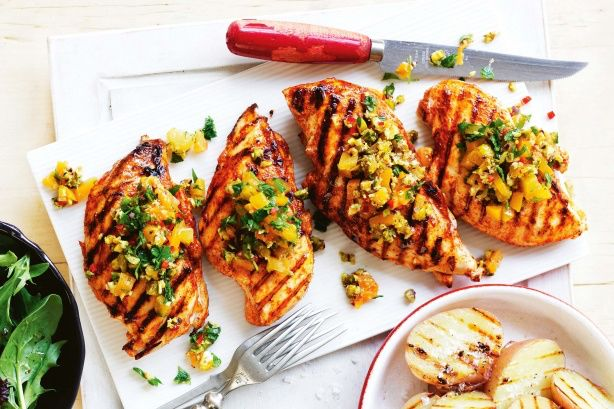 Chicken with apricot and pistachio salsa