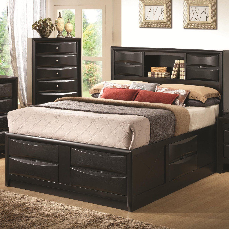 Briana Black Bookcase Eastern King Storage Bed Home Kitchen