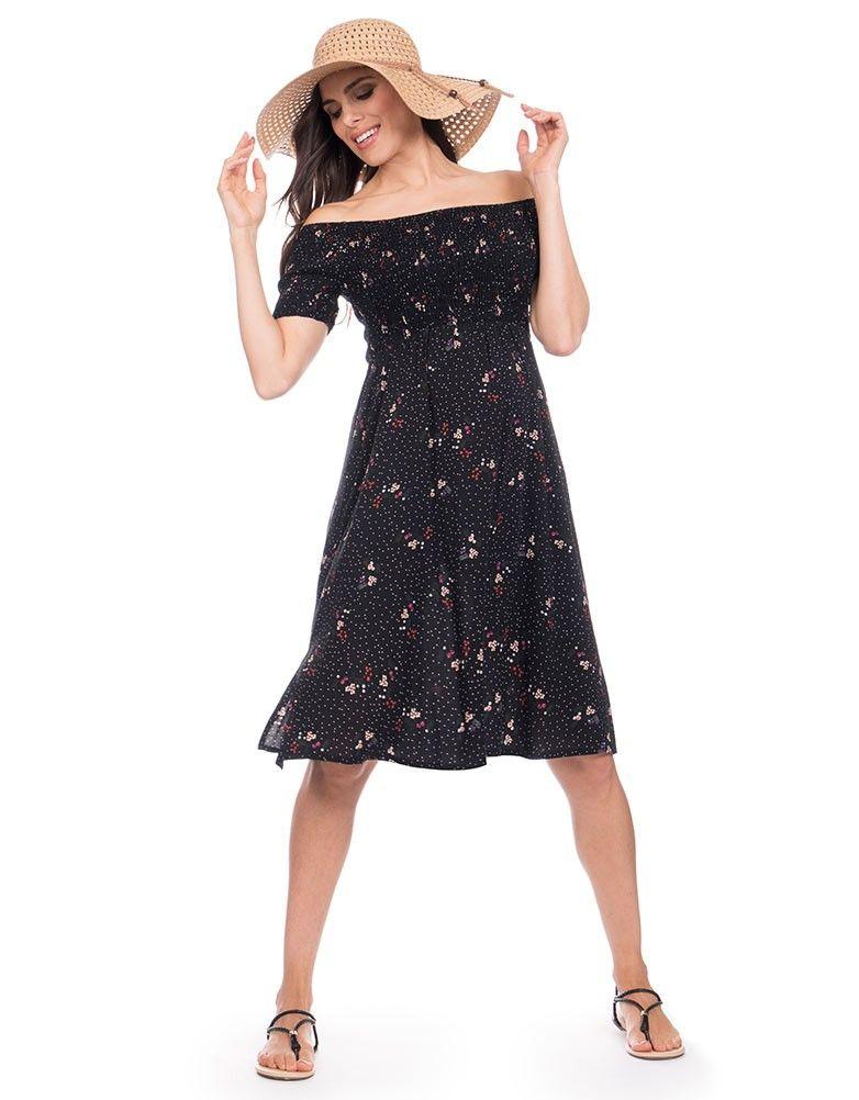 c63a3eab4e7 Black Woven Off the Shoulder Maternity Dress