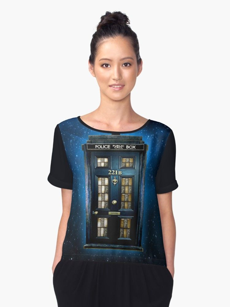 Detective Phone box with 221b number Chiffon Tops @pointsalestore #ChiffonTops #tshirt #clothing #tee #unisex #tardis #policepubliccallbox #doctorwho #221b #sherlockholmes #vangogh #door #Detective #phonebooth #phonebox #timemachine #timetraveller #house #haunted #geek #nerd #starrynight