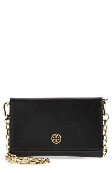 b4c945e163e Free shipping and returns on Tory Burch  Robinson  Leather Wallet on a Chain  at