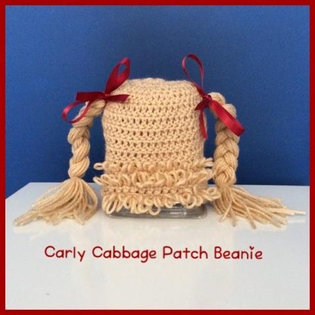 """Cabbage patch beanie for a two-year old! Made by Justice Stitch for Maddie!"""