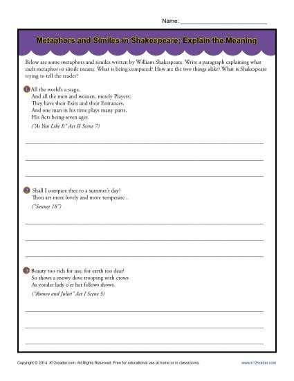 worksheet. Metaphor Simile Worksheet. Grass Fedjp Worksheet Study Site