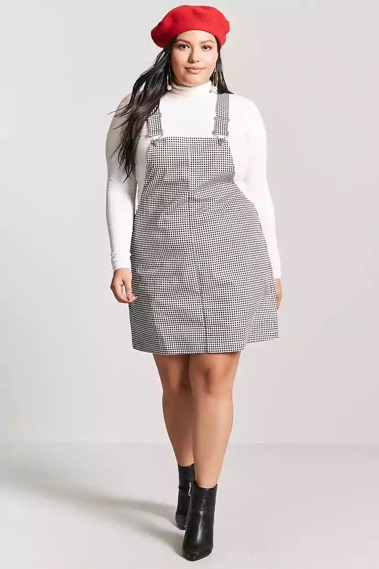 1a9359c9129 Product Name Plus Size Gingham Mini Overall Dress