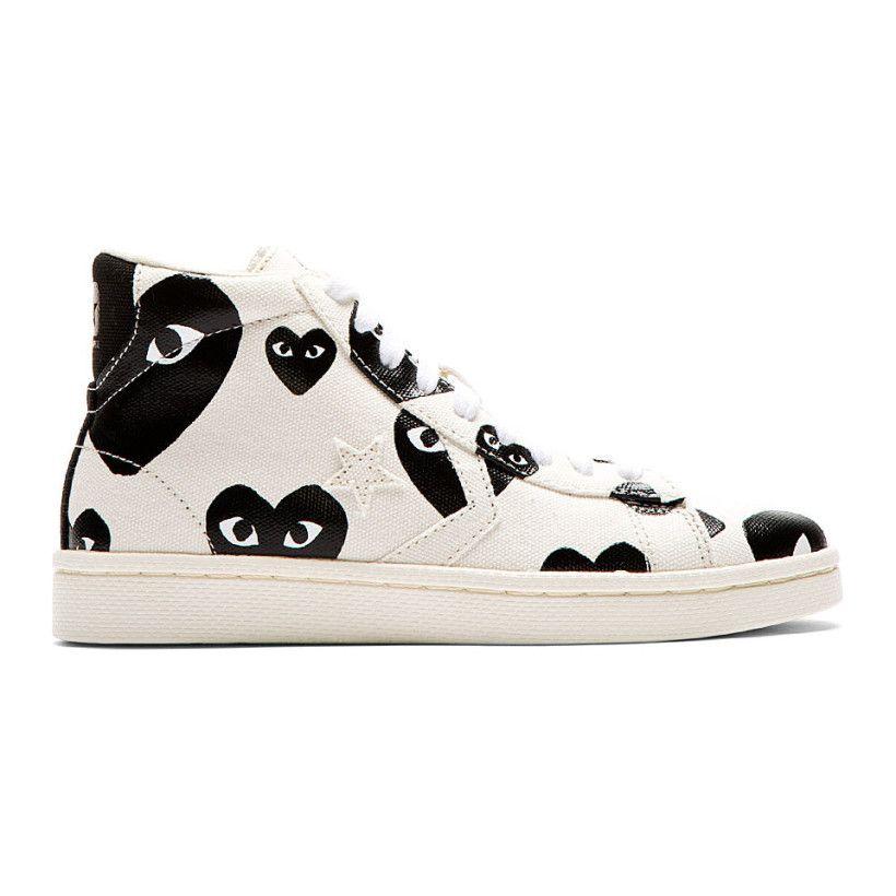 f6df6d32f16457 Comme des Garçons Play White   Black Heart Print Converse Pro Edition  Sneakers