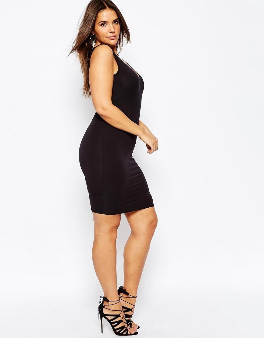 ASOS Curve | ASOS CURVE Mini Bodycon Dress with V-Neck at ASOS