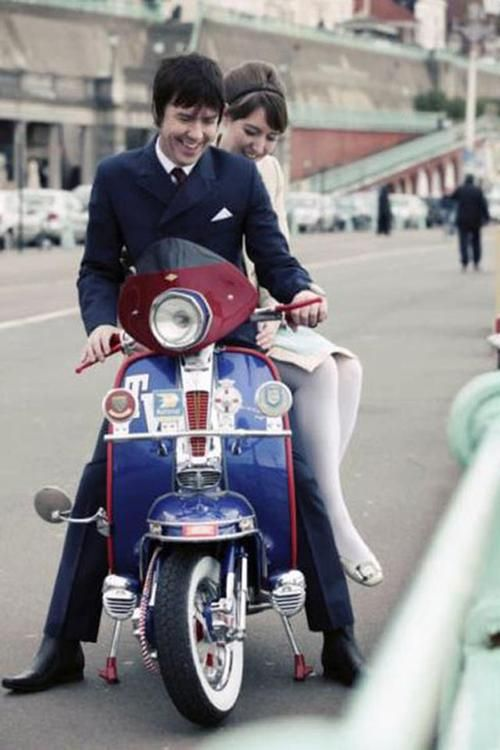 Couple Of 60s Mods And Vespa Midsummer Mod Scooter