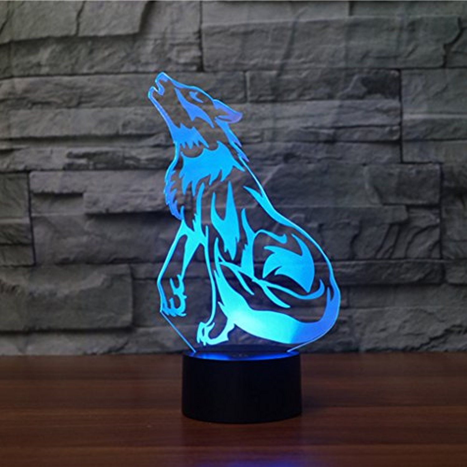 Wolf 3d Lamp Optical Illusion Night Light Gawell 7 Color Changing Touch Switch Table Desk Decoration Lamps P 3d Night Light 3d Led Night Light Led Night Light