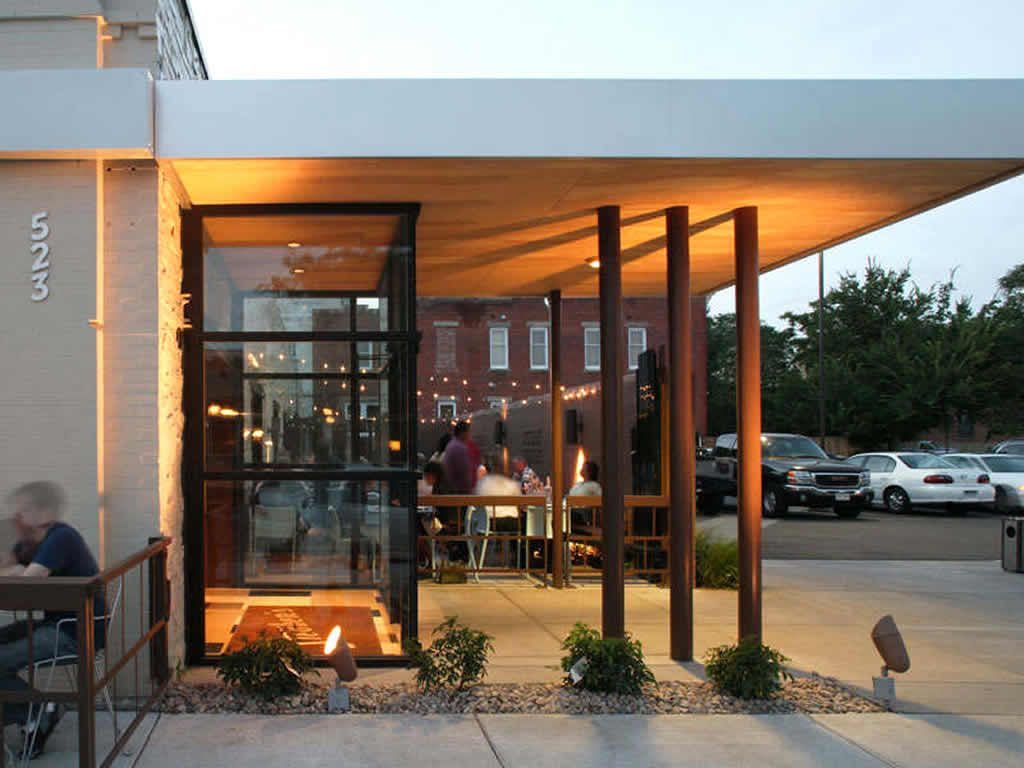 Restaurant exterior design east entry building exterior for Restaurant exterior design photos