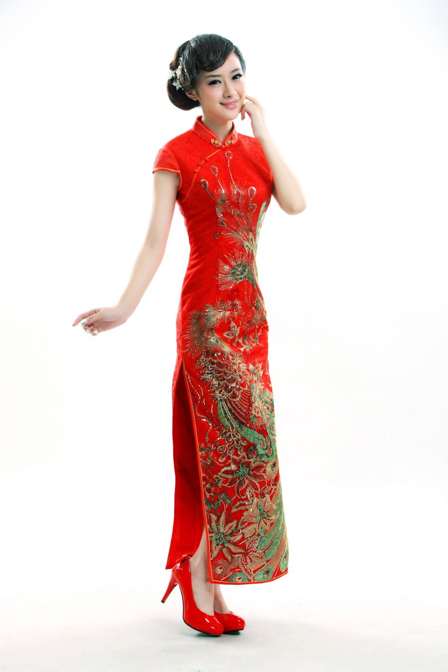 Qipao Chinese Traditional Dress Qipao Pictures Chinese Culture Long Sleeve Evening Dresses Dresses Sheer Wedding Dress [ 1350 x 900 Pixel ]