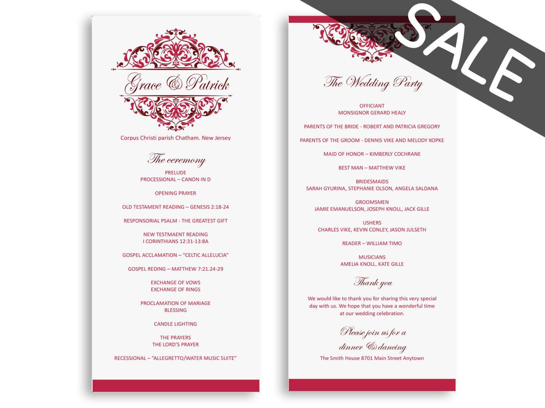 Sale wedding programs template download - wedding program instant ...